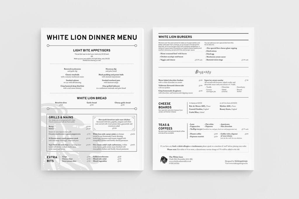 menu design - Tira Design